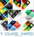Set of square shaped geometrical backgrounds Stock Photos