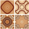 Set of squared backgrounds - ornamental seamless patterns Royalty Free Stock Photo
