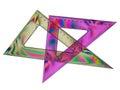 Set squares - rainbow effect maths Stock Images