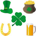 Set of St Patrick`s day elements Stock Photos