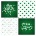 Set of St. Patrick's Day greeting cards and backgrounds. St. Patrick's Day lettering. Shamrock seamless pattern.
