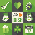 Set of st patricks day flat icons with long shad vector icon designs shadows for in green cream and black Royalty Free Stock Images