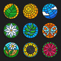 Set of stained glass summer icons - Stock vector illustration. Royalty Free Stock Photo