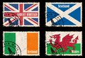 Set of stamps with flags from the British Isles Stock Photo