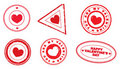 A set of stamps with hearts Royalty Free Stock Photos