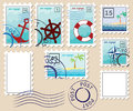Set of stamps on theme of the sea Royalty Free Stock Images