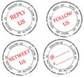 Set of stamps to Twitter: follow, reply, retweet Stock Photography