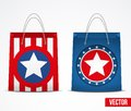 Set of star shopping bag vector with and symbol usa flag retail business object service and sale illustration isolated and Stock Images