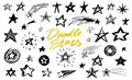 Set of Star signs. Doodle style. Collection of icons for Pattern Background. Engraved hand drawn sketch. Geometric
