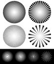 Set of starburst, sunburst shapes. Radiating, converging lines. Royalty Free Stock Photo