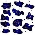 Set of stars zodiac signs night sky