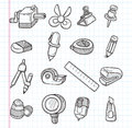 Set of stationery icons cartoon vector illustration Stock Photography