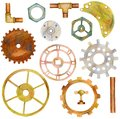 Set of steampunk elements with gears, pipes, ventils, nut. Royalty Free Stock Photo
