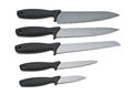 Set of steel kitchen knives on white with clipping path Royalty Free Stock Photo