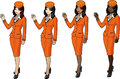 Set of stewardesses in orange suits skirts and capes Royalty Free Stock Images