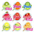 Set sticers smoothie with ribbon and freshes vector Royalty Free Stock Images