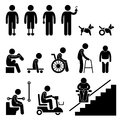 A set of stick figure people pictograms representing amputee handicap and disabled people with their equipment and tools Royalty Free Stock Images