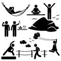 A set of stick figure people pictograms representing healthy lifestyle activities Stock Images