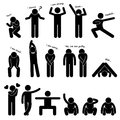 A set of stick figure people pictograms representing man basic posture and gesture Stock Photos