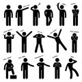 A set of stick figure people pictograms representing man basic posture and gesture Royalty Free Stock Photography