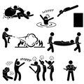A set of stick figure people pictograms representing man saving and rescuing human life Royalty Free Stock Photo