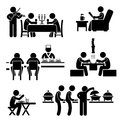 A set of stick figure people pictograms representing restaurant and cafes of different types Royalty Free Stock Photos