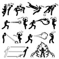 A set of stick figure people pictograms representing super human power with their fighting abilities Stock Photography
