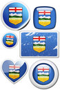 Set of stickers and buttons - Alberta (Canada) Royalty Free Stock Photo