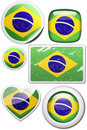 Set of stickers and buttons - Brazil Royalty Free Stock Photo