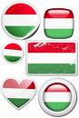 Set of stickers and buttons - Hungary Royalty Free Stock Photo