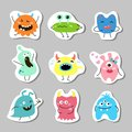 Set of stickers with cartoon monsters.