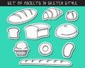 Set of 10 stickers doodle bread baking. Doodle baguette