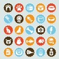 Set of  stickers with pet icons Royalty Free Stock Photos
