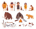 Set of Stone Age theme. Primitive people, children, mammoth, dwelling, hunting and labor tools, saber-toothed tiger