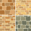 Set - stone wall - seamless patterns - vector Royalty Free Stock Photo