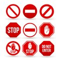 Set of Stop sign icon. No sign, red warning. Flat minimal style. Vector illustration. Isolated on white background Royalty Free Stock Photo