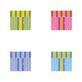 Set of storefront icons with awning. Shopping