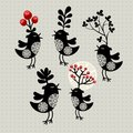Set of strange birds with plants on their heads vector illustration Stock Photography