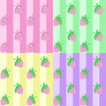 Set strawberry seamless pattern pink line Royalty Free Stock Images