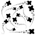A set of streams of abstract stars in the form of a cross. Black silhouette. Simple flat vector illustration isolated on white Royalty Free Stock Photo