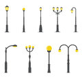 Set of street lamps Royalty Free Stock Photo