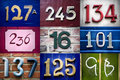 Set of street numbers Royalty Free Stock Photo