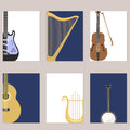 Set of stringed cards with musical instruments classical orchestra art sound tool and acoustic symphony stringed fiddle
