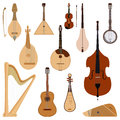 Set of stringed dreamed musical instruments classical orchestra art sound tool and acoustic symphony stringed fiddle