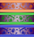 Set of striped floral banners Stock Images