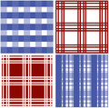 Set of stripes and squared pattern background vector illustrations Stock Images