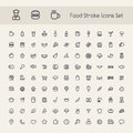 Set of stroke food icons on white background clipping paths included in additional jpg format Royalty Free Stock Photo