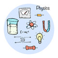 Set of stydying elements physic topic vector illustration in sketch style Royalty Free Stock Photos