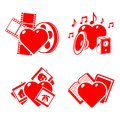Set of the stylised hearts on a hobby theme. Stock Photos