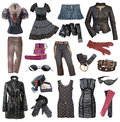 Set of stylish clothes fashionable Royalty Free Stock Images
